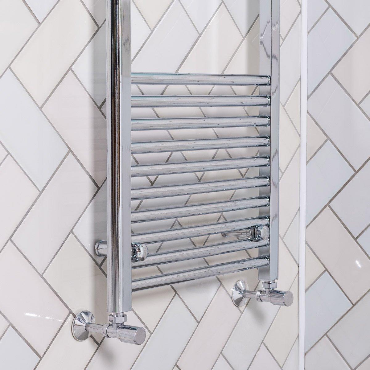 Tradesman Straight Chrome Heated Towel Rail Warmer: Bathroom Heated Towel Rail Radiator Chrome Straight Ladder