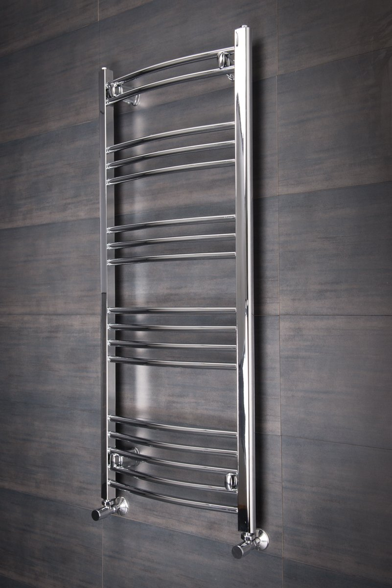 Curved Chrome Heated Bathroom Towel Rail Rad Radiator