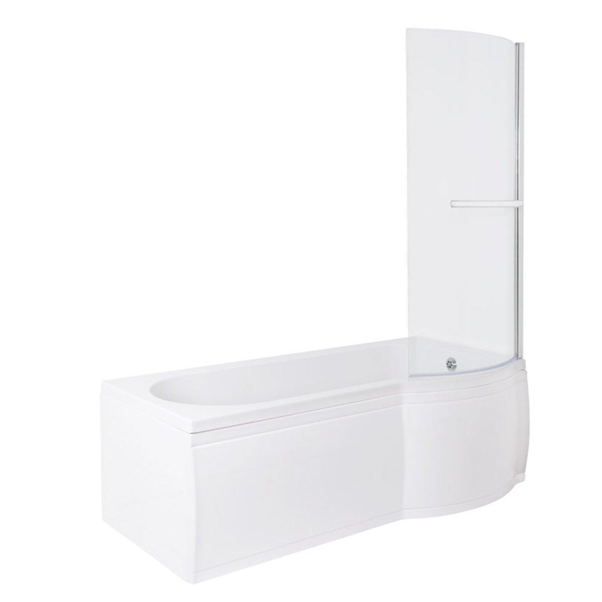 baignoire douche en forme de p ou l 1500 1675 1700 mm avec pare et tablier ebay. Black Bedroom Furniture Sets. Home Design Ideas
