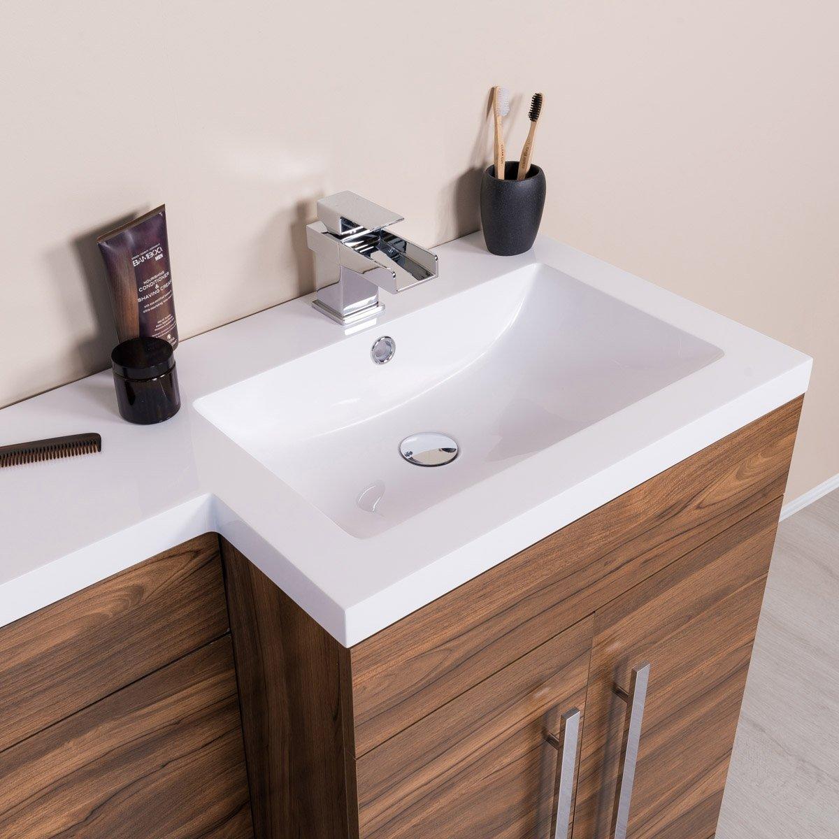 ensemble meuble sous vasque calm avec wc et lavabo inclus gris ch ne noyer ebay. Black Bedroom Furniture Sets. Home Design Ideas
