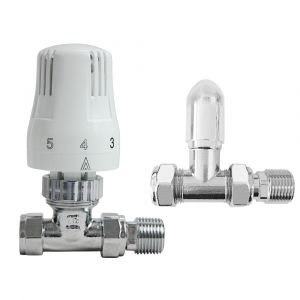 Designer Radiator 15mm Thermostatic Manual White & Chrome Straight Valve Pack