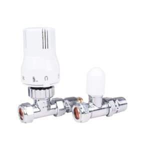 15mm Straight Thermostatic Radiator Valve & Lockshield with 15-10mm reducer