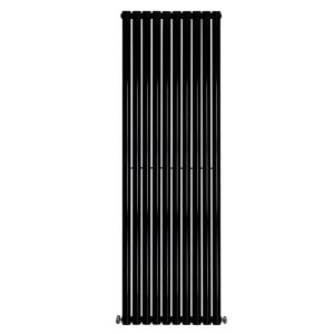 Vertical Column Designer Radiator Oval Flat Panel Double Black 1800 x 591mm - Modern Central Heating Space Saving Radiators - Perfect for Bathrooms, Kitchen, Hallway, Living Room