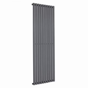 Vertical Column Designer Radiator Oval Flat Panel Single Anthracite 1800 x 591mm - Modern Central Heating Space Saving Radiators - Perfect for Bathrooms, Kitchen, Hallway, Living Room