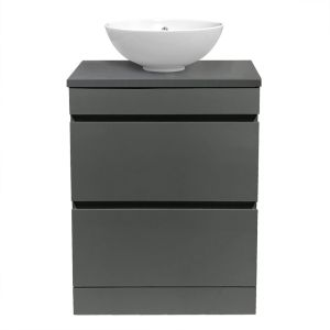 Grey Floor Standing Vanity Sink Unit Countertop Basin Bathroom 2 Drawer Storage Furniture 600mm