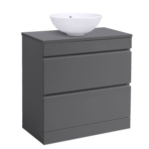Grey Floor Standing Vanity Sink Unit Countertop Basin Bathroom 2 Drawer Storage Furniture 800mm