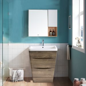 600mm Grey Oak Effect Floor Standing 2 Drawer Vanity Unit Basin Bathroom Storage Furniture