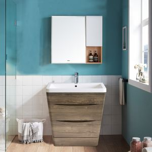 800mm Grey Oak Effect Floor Standing 2 Drawer Vanity Unit Basin Bathroom Storage Furniture