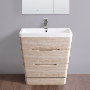 800mm Light Oak Effect Floor Standing 2 Drawer Vanity Unit Basin Bathroom Storage Furniture