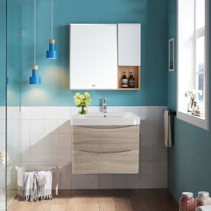 600mm Light Oak Wall Hung 2 Drawer Vanity Unit with Basin Bathroom Storage Furniture