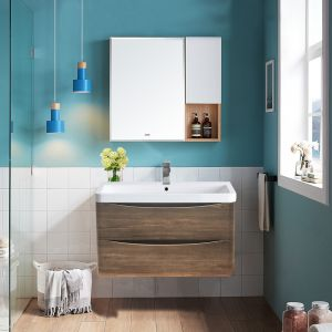 800mm Grey Oak Effect Wall Hung 2 Drawer Vanity Unit with Basin Bathroom Storage Furniture