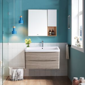 800mm Light Oak Effect Wall Hung 2 Drawer Vanity Unit with Basin Bathroom Storage Furniture