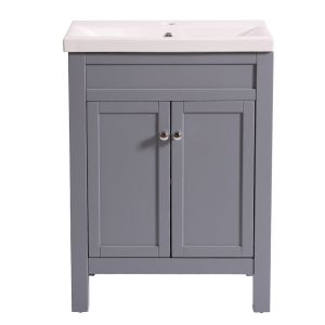 Traditional Bathroom Grey Vanity Sink Unit Cabinet Basin Floor Standing Storage Furniture 600mm