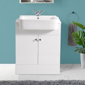 Bathroom Gloss White Vanity Sink Unit Cabinet Basin Floor Standing Storage Furniture 667mm