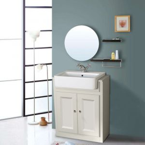 Bathroom Ivory White Vanity Sink Unit Cabinet Basin Floor Standing Storage Furniture 667mm