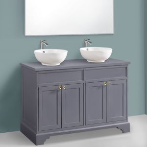 Matte Grey Vanity Unit Countertop Basin Floor Standing 1200mm