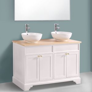Ivory Floor Standing Bathroom Furniture Vanity Unit Cabinet with Countertop Basin 1200mm
