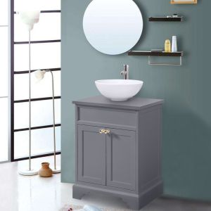 600mm Grey Traditional Floor Standing Bathroom Furniture Vanity Sink Unit Storage Cabinet with Countertop Basin