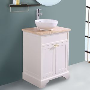 600mm Ivory Traditional Floor Standing Bathroom Furniture Vanity Sink Unit Storage Cabinet with Countertop Basin