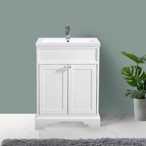Ivory White Vanity Unit Basin Floor Standing 600mm