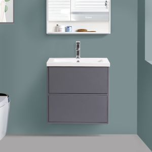 Grey Wall Hung Vanity Sink Unit Ceramic Basin Bathroom Drawer Storage Furniture 600mm