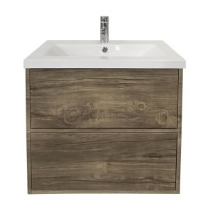 600mm Grey Oak Effect Modern Wall Hung Bathroom Furniture Vanity Unit Storage Cabinet with Basin