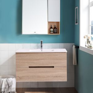 Wall Hung 2 Drawers Vanity Unit Basin Storage Bathroom Furniture 1000mm Light Oak