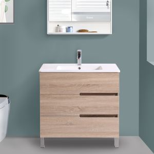 Floor Standing 3 Drawer Vanity Unit Basin Storage Bathroom Furniture 800mm Light Oak