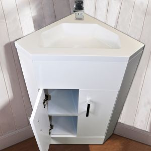 Vanity Corner Unit Sink Cabinet Bathroom Basin Storage Furniture Gloss White