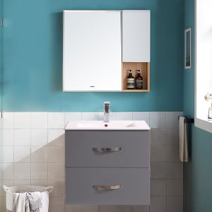 600mm Grey 2 Drawer Vanity Unit With Basin