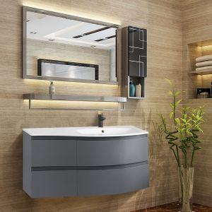 Gloss Grey Bathroom Vanity Basin Unit Wall Hung Right Curved Drawer Storage Cabinet Furniture 1000mm