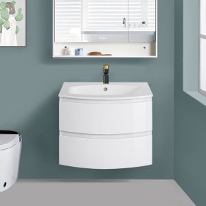 Gloss White Bathroom Curved Vanity Basin Unit Wall Hung Drawer Storage Cabinet Furniture 700mm