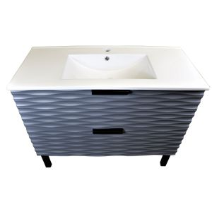 1000mm Bathroom Vanity Sink Unit Floor Standing 2 Drawer Storage Cabinet Furniture Grey
