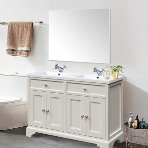 Bathroom Toilet WC Rectangular Wooden Frame Wall-Mounted Mirror 800 x 1000mm