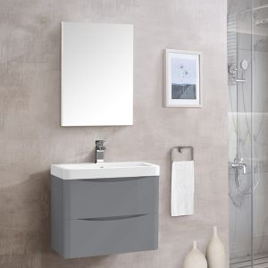 Bathroom Toilet WC Rectangular Wooden Frame Wall-Mounted Mirror 600 x 450mm