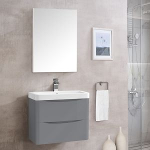 Bathroom Toilet WC Rectangular Wooden Frame Wall-Mounted Mirror 700 x 500mm