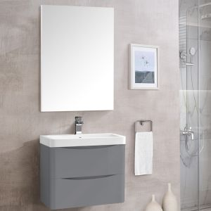 Bathroom Toilet WC Rectangular Wooden Frame Wall-Mounted Mirror 800 x 600mm