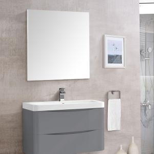 Bathroom Toilet WC Rectangular Wooden Frame Wall-Mounted Mirror 800 x 700mm