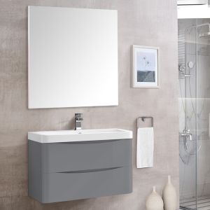 Bathroom Toilet WC Rectangular Wooden Frame Wall-Mounted Mirror 800 x 800mm