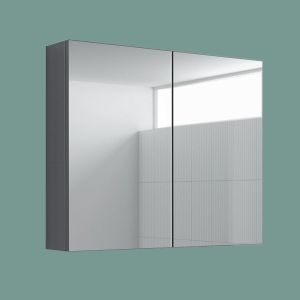 600x667mm Gloss Grey 2 Door Mirror Cabinet Wall Mounted Bathroom Storage Furniture