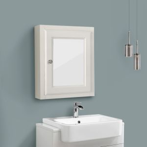Single Mirror Door Cabinet Wall Mounted Storage Unit 500 x 600mm Ivory White