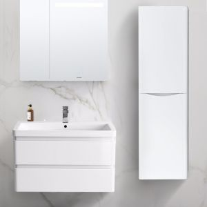 Gloss White Wall Hung High Cabinet Cupboard 1400mm - Right Hand