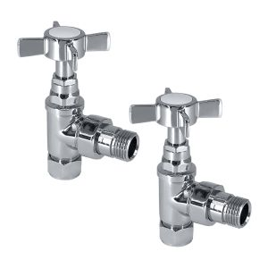 Radiator 15mm Traditional Cross Head Valves (Pair) Angled