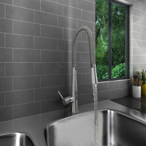 Valle Lyon Mono Kitchen Sink Mixer Tap with Pull Out Rinser - Chrome