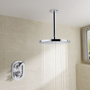 Abbey Thermostatic Concealed Shower Valve with Round Ceiling Head