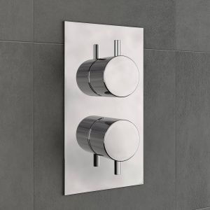 Two Valve 3 Way Concealed Valve Inc Plate - Round
