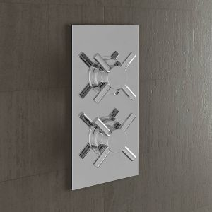 Two Valve 3 Way Concealed Valve Inc Plate - Cross