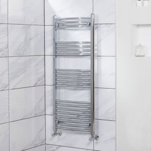 Fjord 1200 x 500mm Curved Chrome Heated Towel Rail
