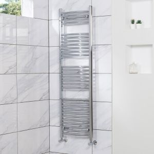 Fjord 1500 x 450mm Curved Chrome Heated Towel Rail