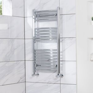 Fjord 900 x 450mm Curved Chrome Heated Towel Rail
